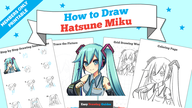 download a printable PDF of Hatsune Miku drawing tutorial