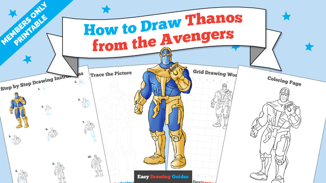 Printables thumbnail: How to draw Thanos from the Avengers