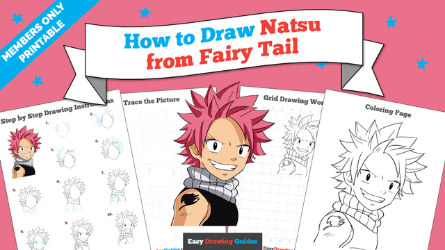 download a printable PDF of Natsu from Fairy Tail drawing tutorial