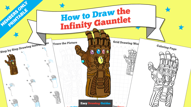 Printables thumbnail: How to draw the Infinity Gauntlet