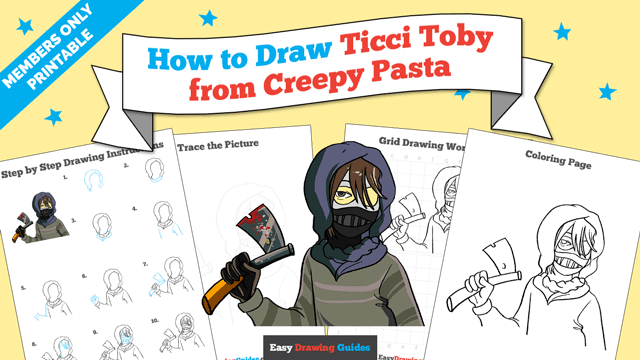 download a printable PDF of Ticci Toby from Creepy Pasta drawing tutorial