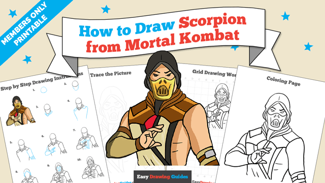 download a printable PDF of Scorpion from Mortal Kombat drawing tutorial