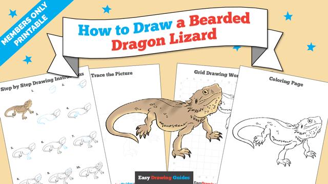 download a printable PDF of Bearded Dragon Lizard drawing tutorial