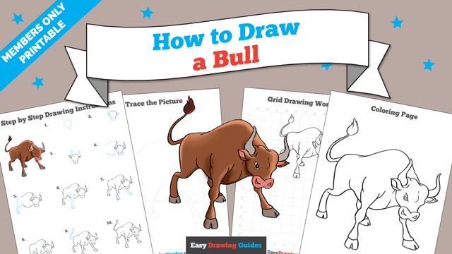 Printables thumbnail: How to draw a Bull