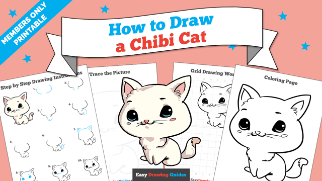 Printables thumbnail: How to draw a Chibi Cat