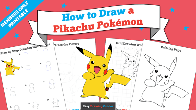 download a printable PDF of Pikachu drawing tutorial