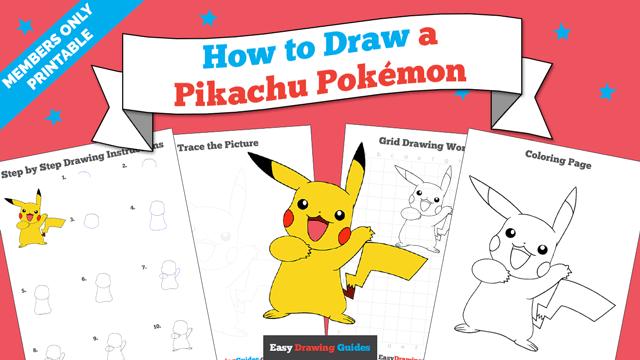 Printables thumbnail: How to draw a Pikachu Pokemon