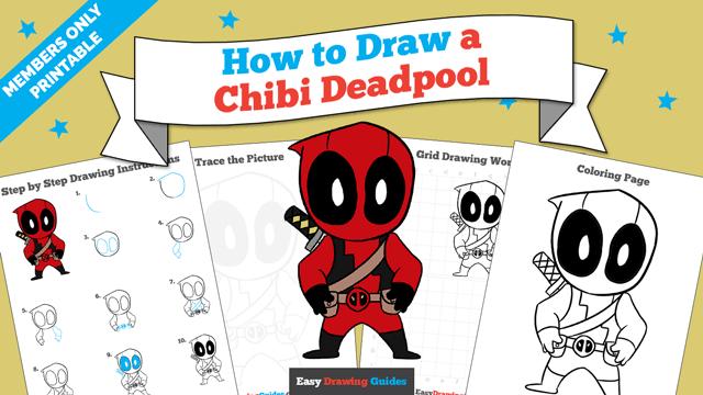 download a printable PDF of Chibi Deadpool drawing tutorial