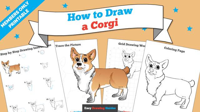 download a printable PDF of Corgi drawing tutorial