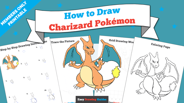 download a printable PDF of Charizard drawing tutorial