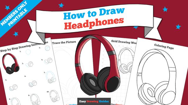 download a printable PDF of Headphones drawing tutorial