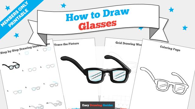 download a printable PDF of Glasses drawing tutorial