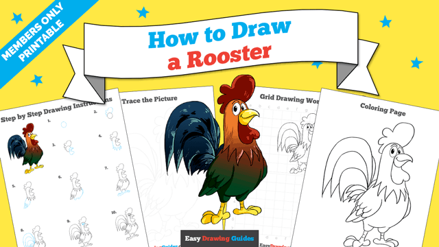 Printables thumbnail: How to draw a Rooster