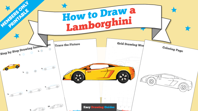 download a printable PDF of Lamborghini drawing tutorial