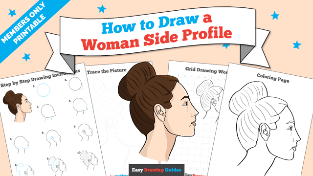 download a printable PDF of Woman Side Profile drawing tutorial