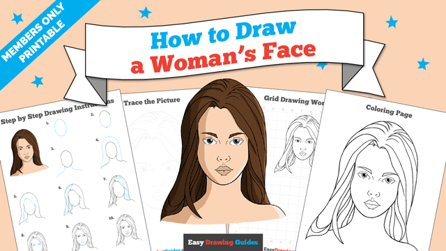 download a printable PDF of Woman's Face drawing tutorial