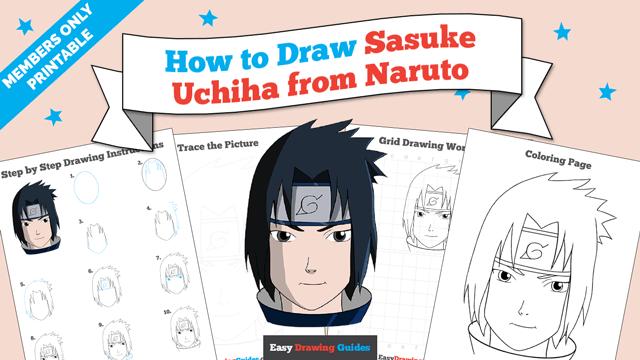 download a printable PDF of Sasuke Uchiha from Naruto drawing tutorial