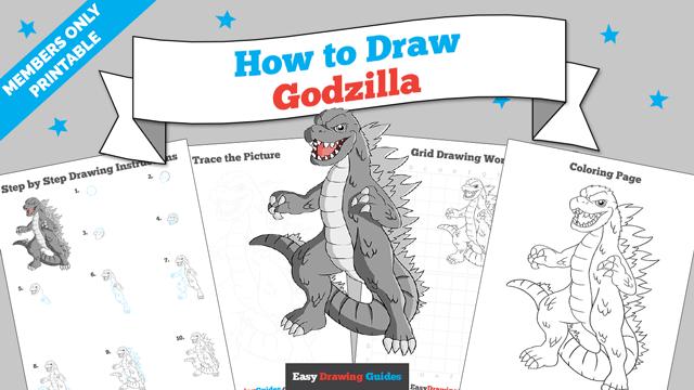 download a printable PDF of Godzilla drawing tutorial