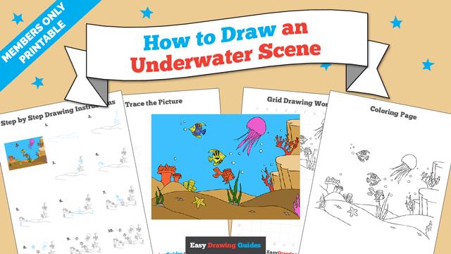 download a printable PDF of Underwater Scene drawing tutorial