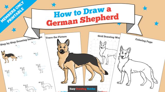 download a printable PDF of German Shepherd drawing tutorial