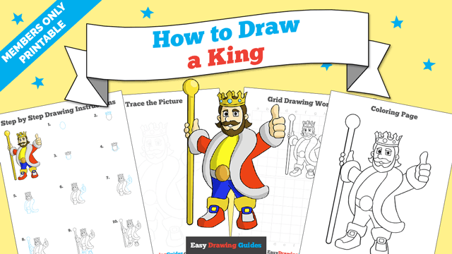 download a printable PDF of King drawing tutorial