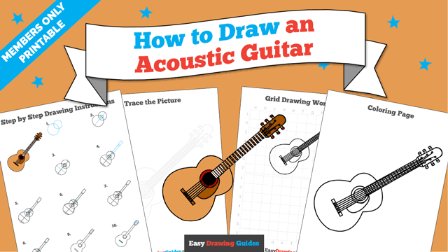 Printables thumbnail: How to draw an Acoustic Guitar