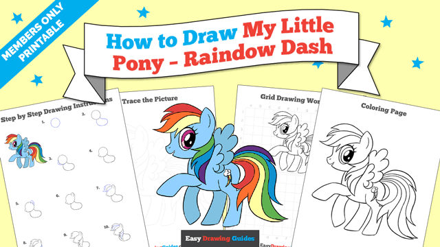 download a printable PDF of My Little Pony Rainbow Dash drawing tutorial