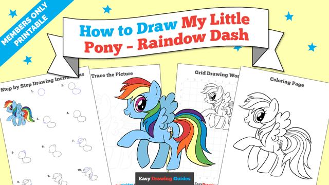 Printables thumbnail: How to draw My Little Pony - Rainbow Dash