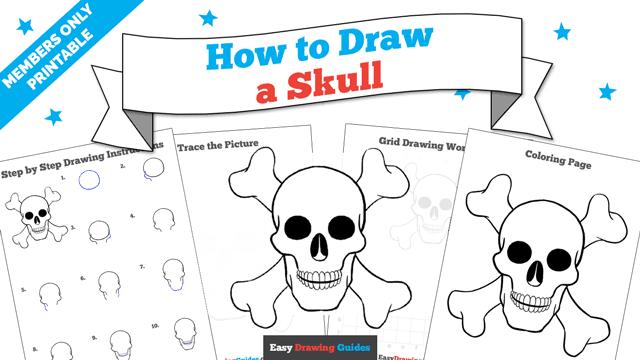 download a printable PDF of Skull drawing tutorial