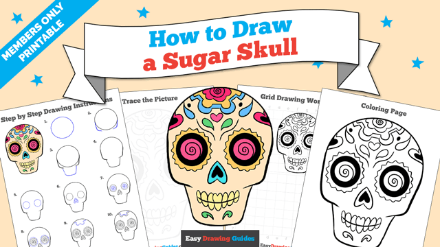 download a printable PDF of Sugar Skull drawing tutorial