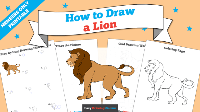 download a printable PDF of Lion drawing tutorial