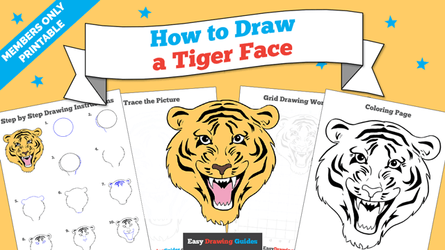 Printables thumbnail: How to draw a Tiger Face