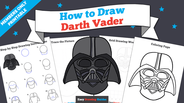 download a printable PDF of Dart Vader drawing tutorial