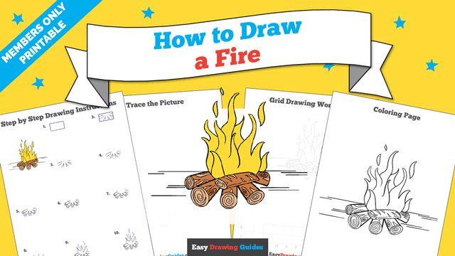 download a printable PDF of Fire drawing tutorial