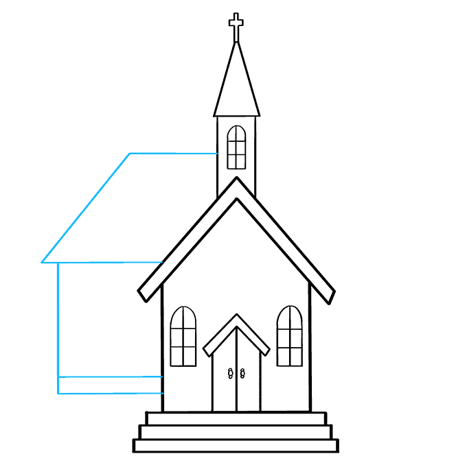 How to Draw Church: Step 7