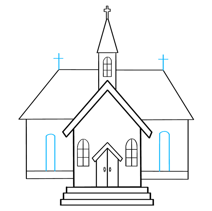 How to Draw Church: Step 9