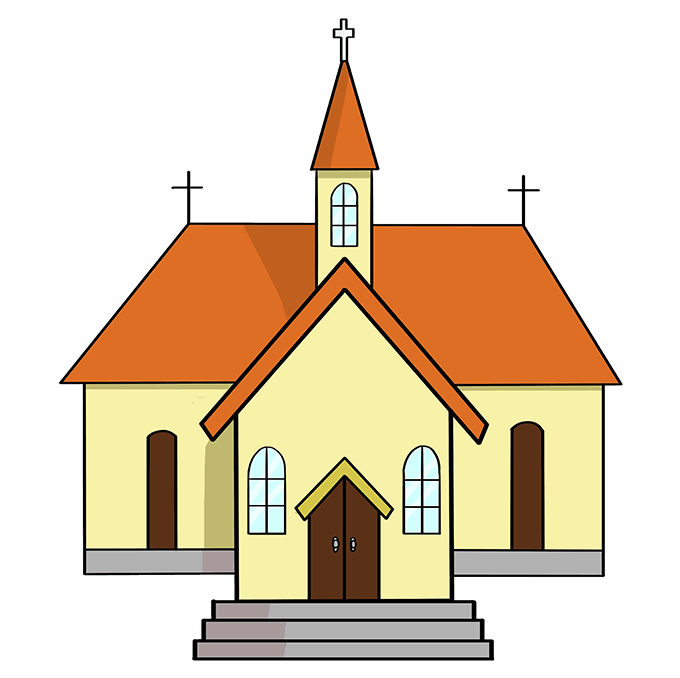 How to Draw Church: Step 10