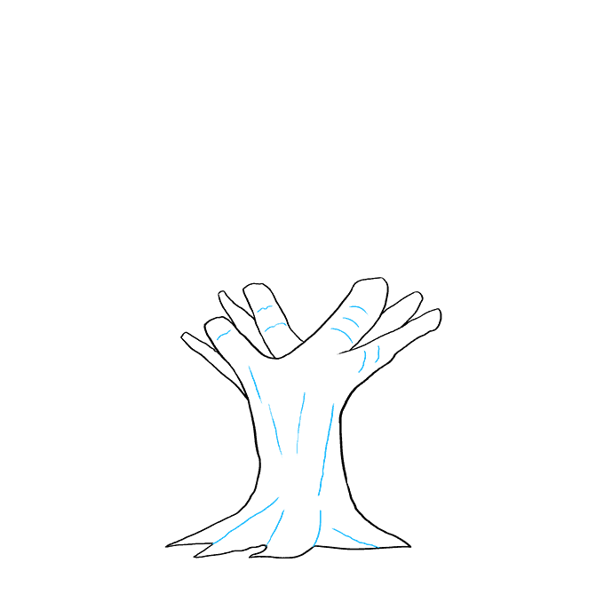 How to Draw Oak Tree: Step 4