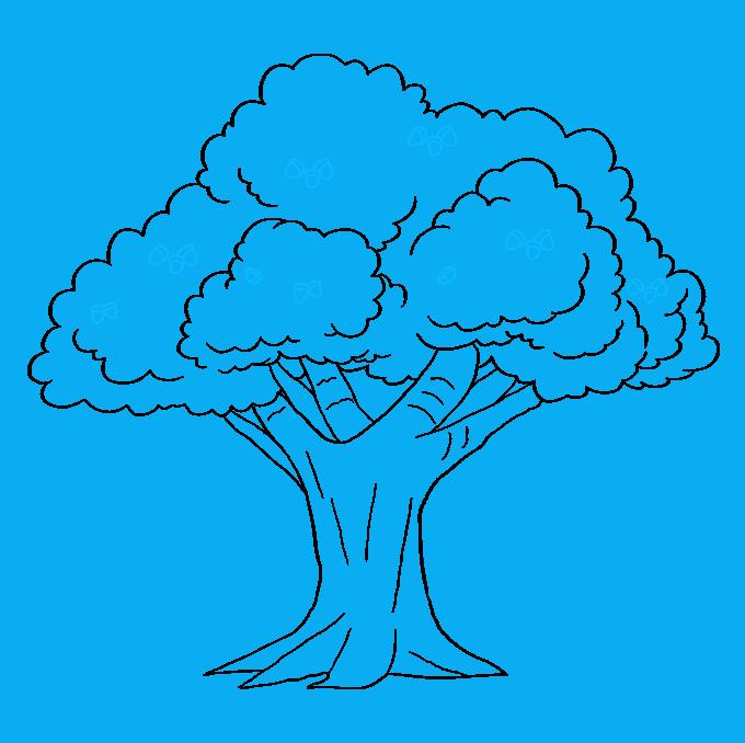 How to Draw Oak Tree: Step 9