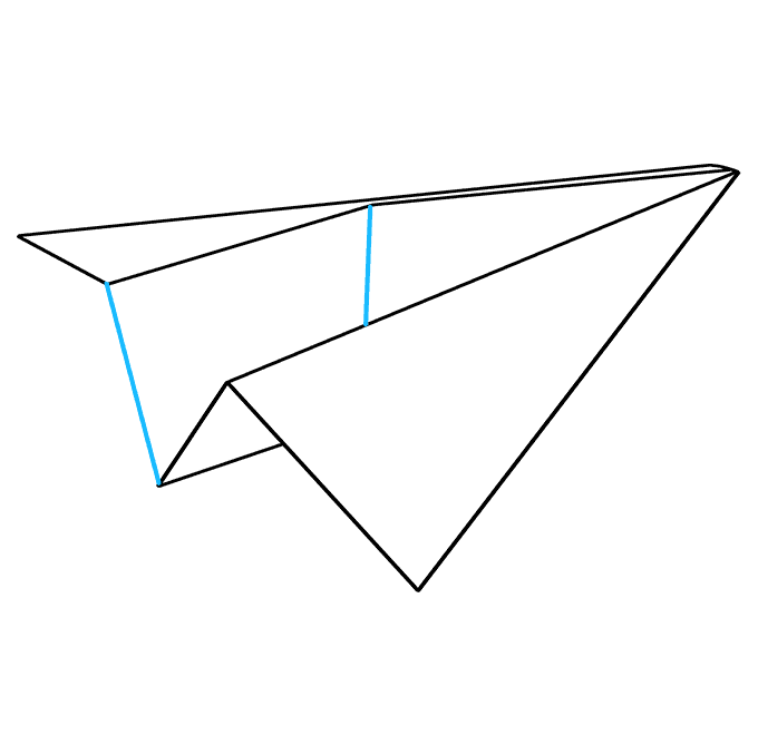 How to Draw Paper Airplane: Step 8
