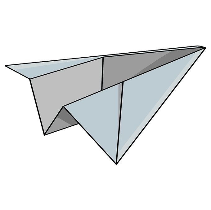 How to Draw Paper Airplane: Step 10