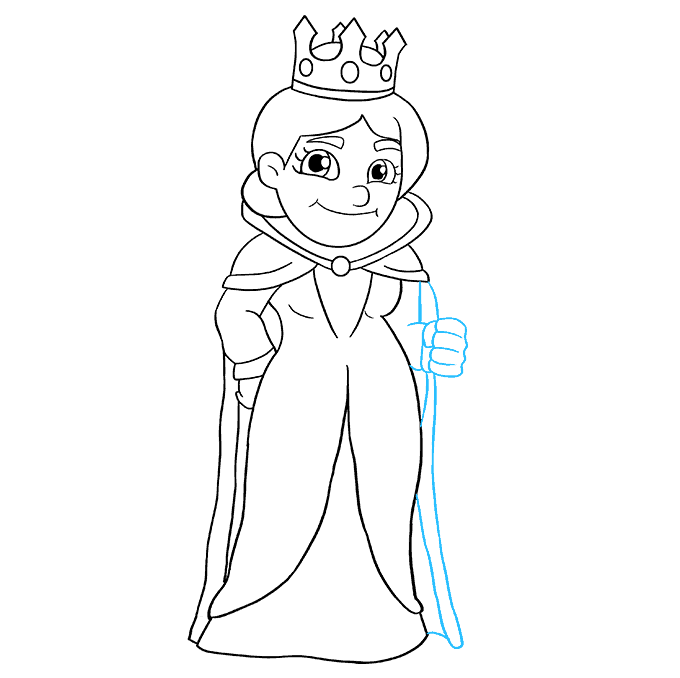 How to Draw Queen: Step 8