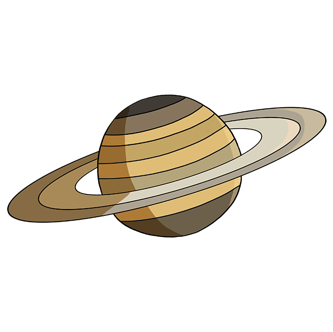 How to Draw Saturn: Step 10