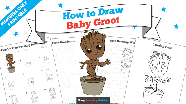 download a printable PDF of Baby Groot drawing tutorial