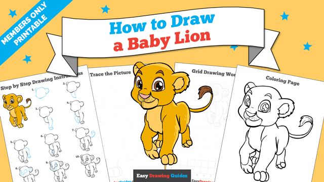 download a printable PDF of Baby Lion drawing tutorial