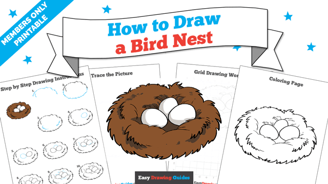 download a printable PDF of Bird Nest drawing tutorial