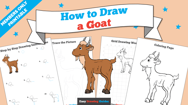 download a printable PDF of Goat drawing tutorial