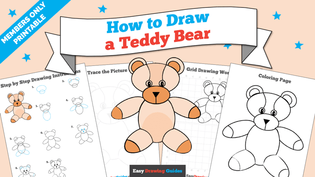 download a printable PDF of Teddy Bear drawing tutorial