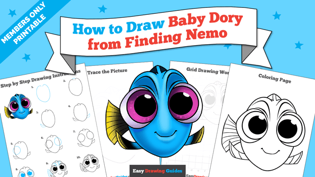 download a printable PDF of Baby Dory from Finding Dory drawing tutorial