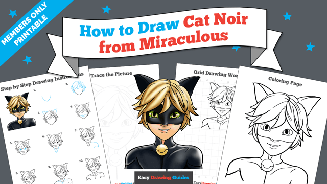 download a printable PDF of Cat Noir from Miraculous drawing tutorial